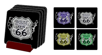 24-3  Route 66 Coaster set | Highway Signs