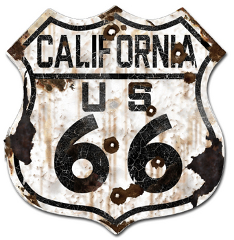 22-1CAR  Rustic California 66 Shield | Highway Signs