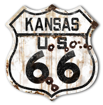 22-1KSR  Rustic Kansas 66 Shield | Highway Signs