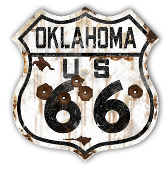 22-1OKR  Rustic Oklahoma 66 Shield | Highway Signs