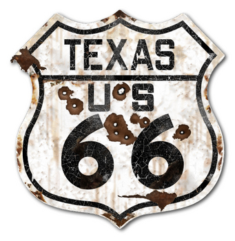22-1TXR  Rustic Texas 66 Shield | Highway Signs