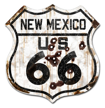 22-1NMR  Rustic New Mexico 66 Shield | Highway Signs