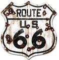 Rustic Route 66 Shield