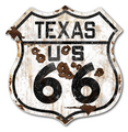 22-1TXR  Rustic Texas 66 Shield