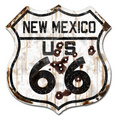 22-1NMR  Rustic New Mexico 66 Shield
